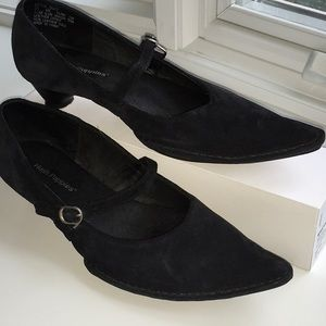 Black suede Hush Puppies pumps